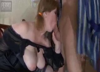 Big-boobed mom gives a head for her son