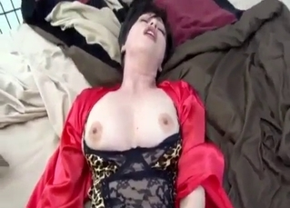 Careful Busty Mom Slowly Sucks Her Son