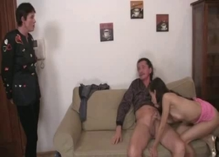 Glamour stepdaughter sucks her stepfather's dick