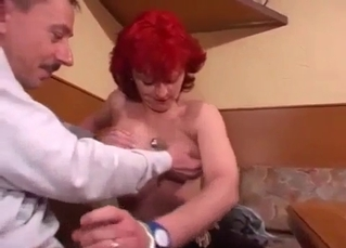 Redhead aunt sucks her brother with love