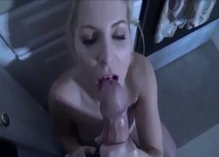 Adorable aunt eats my loaded dick in the kitchen