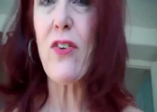 Redhead mom jerks off my loaded boner