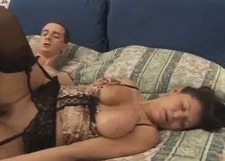 Big-boobed amateur mom bangs with a real son