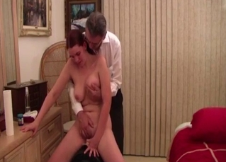 Daddy is treating his big-boobed naked daughter