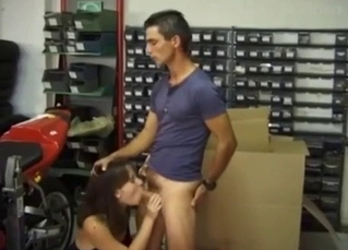 Sister sucks my prick right in the garage