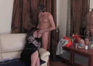 Cute fat mom nicely sucks my juicy prick