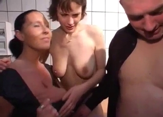 Bald brother gets sucked by a busty sis