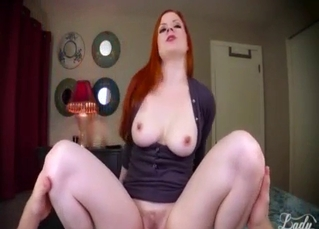 Redhead mom jerks and sucks my hard dick