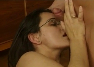 Nerdy aunt with hairy cunt fucks with a nephew