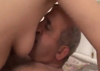 Big-ass stepdaughter jumps on her bald dad